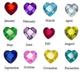 Charms Birthstones hearts