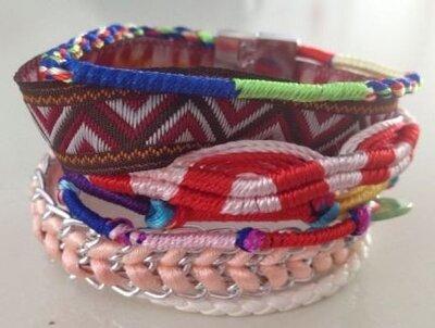 Ibiza armband bruin roze