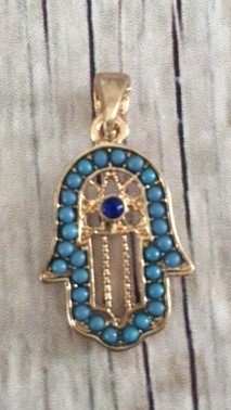 Memory lockets bead dangle hamsa hand blauw goudkleurig
