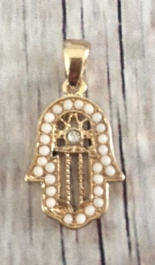 Memory lockets bead dangle hamsa hand wit goudkleurig