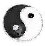 Zwarte witte yin yang mini petite click 14mm