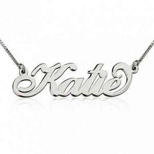 Naamketting sterling zilver 925 'Carrie style'