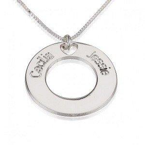 Naamketting sterling zilver 925 cirkel met 2 namen