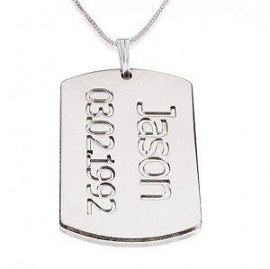 Naamketting sterling zilver 925 tag met 1 naam en datum
