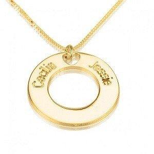 Naamketting 24K goud verguld cirkel met 2 namen