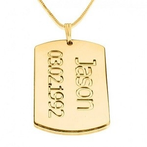 Naamketting 24K goud verguld tag met 1 naam en datum