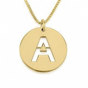 Naamketting 'disc' 24K verguld goud  met 1 letter