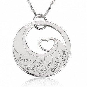 5 namen - Naamketting cirkel met 5 namen gegraveerd en hart sterling zilver 925