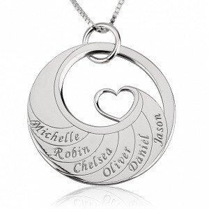 6 namen - Naamketting cirkel met 6 namen gegraveerd en hart sterling zilver 925
