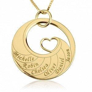 6 namen - Naamketting cirkel met 6 namen gegraveerd en hart 24K verguld goud