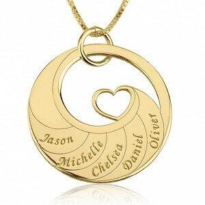 5 namen - Naamketting cirkel met 5 namen gegraveerd en hart 24K verguld goud
