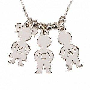 3 letters - Naamketting jongens-meisjes uitgesneden initialen sterling zilver 925