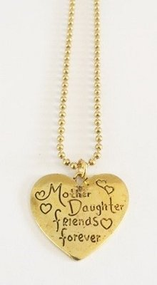 Bedel met RVS ketting (80cm) mother daughter friends forever goudkleurig