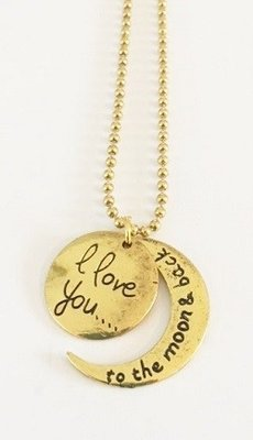 Bedel met RVS ketting (80cm) I love you to the moon and back goudkleurig