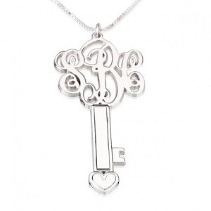 Drie letters ketting sleutel sterling zilver 925