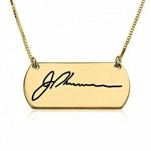 Naamketting - 'tag' met handtekening 24K verguld goud