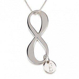 Infinity ketting met bedel en 1 letter sterling zilver 925
