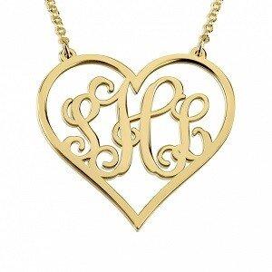 Naamketting 3 letter monogram hart 24K verguld goud