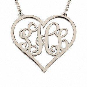 Naamketting 3 letter monogram hart sterling zilver 925