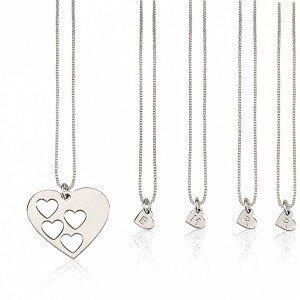 4 letters - Moeder-kind kettingen hart sterling zilver 925