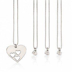 3 letters - Moeder-kind kettingen hart sterling zilver 925