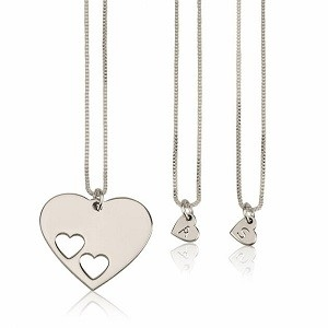 2 letters - Moeder-kind kettingen hart sterling zilver 925