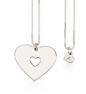 1 letter - Moeder-kind kettingen hart sterling zilver 925