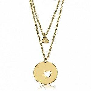 1 letter - Moeder-kind kettingen 24K verguld goud