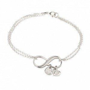 Armband 'infinity' met 2 hartjes bedels sterling zilver 925