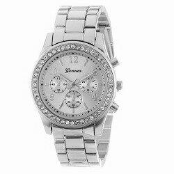 Geneva RVS horloge zilver (kleurig) met strass