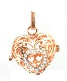 Engelfluisteraar hart strass rosé (kleur)