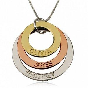 Naamketting zilver, rose goud en gouden cirkel met 3 namen