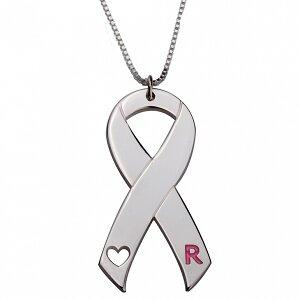 Naamketting Pink Ribbon sterling zilver 925 met letter