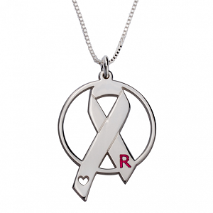 Naamketting 'circle' Pink Ribbon sterling zilver 925 met letter