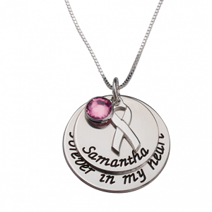 Naamketting 'disc' Pink Ribbon sterling zilver 925 met naam of woord
