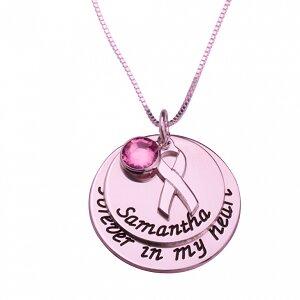 Naamketting 'disc' Pink Ribbon 24K rose-gold plated met naam of woord