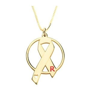Naamketting 'circle' Pink Ribbon 24K gold plated met letter
