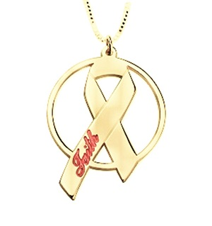 Naamketting 'circle' Pink Ribbon 24K gold plated met naam of woord
