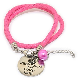 Pinkiezz leren munt armband roze 'Keep calm and love life'