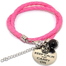 Pinkiezz leren munt armband roze 'keep calm and carry on'