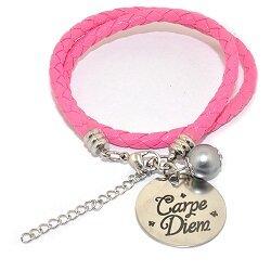 Pinkiezz leren munt armband roze 'Carpe Diem'