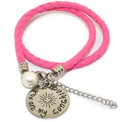Pinkiezz leren munt armband roze 'you are my sunshine'
