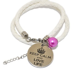 Pinkiezz leren munt armband wit 'keep calm and love life'