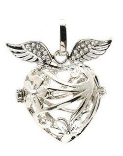 Engelfluisteraar hart sierlijk met strass vleugels