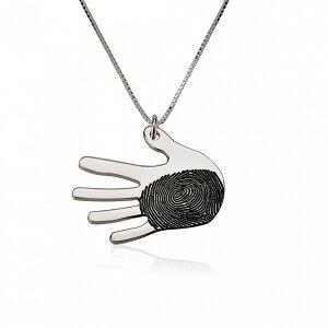 Vingerafdruk ketting hand sterling zilver 925