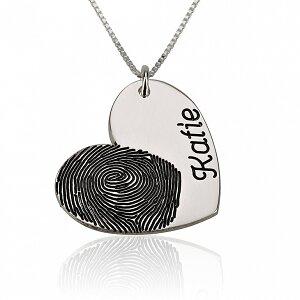 Vingerafdruk ketting hart met naam sterling zilver 925