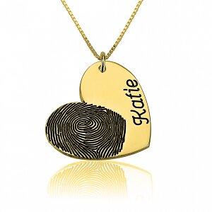 Vingerafdruk ketting hart met naam 24K verguld goud