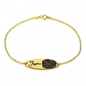 Vingerafdruk armband met naam 24K verguld goud