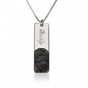 Vingerafdruk ketting 'bar' met naam sterling zilver 925