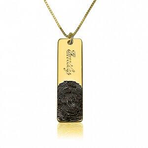 Vingerafdruk ketting 'bar' met naam 24K verguld goud